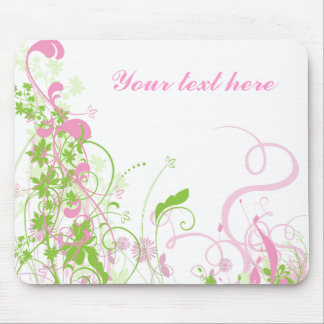 Elegant Pink & Green Florals & Swirls Mousepads