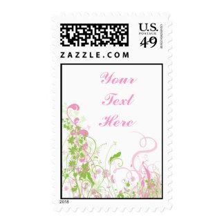 Elegant Pink & Green Florals & Swirls Postage Stamp