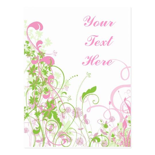Elegant Pink & Green Florals & Swirls Postcard
