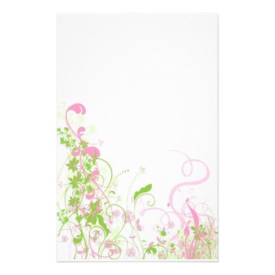 Elegant Pink & Green Florals & Swirls Stationery