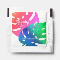 Elegant Pink Green Tropical Leaf Pattern Hand Sanitizer Packet