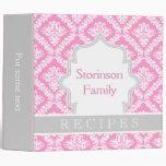 Elegant pink, grey damask recipe 3 ring binders