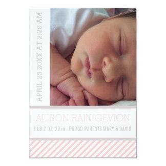 Elegant pink, grey striped baby girl birth card