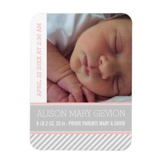 Elegant pink, grey striped baby girl birth magnet