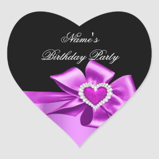 Elegant Pink Heart Birthday Party Any Age Heart Sticker