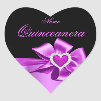 Elegant Pink Heart Birthday Party Quinceanera Stickers