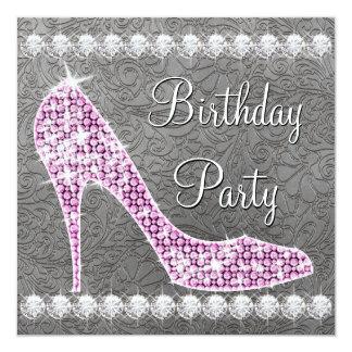 Elegant Pink High Heel Shoe Birthday Party 5.25x5.25 Square Paper Invitation Card