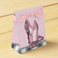 Elegant Pink High Heel Shoe Favor Box