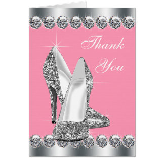Elegant Pink High Heel Shoe Thank You Cards Note Card