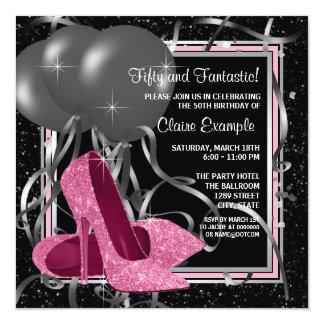 Elegant Pink High Heels Birthday Party Card