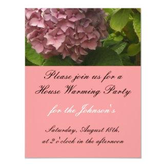 Elegant Pink Hydrangea House Warming Invitation