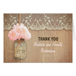 Elegant pink hydrangea mason jar wedding thank you card