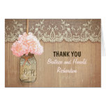 Elegant pink hydrangea mason jar wedding thank you stationery note card