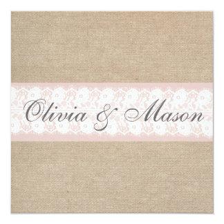 Elegant Pink Lace Burlap Wedding Invitation