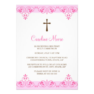 Elegant pink lace damask first communion invite
