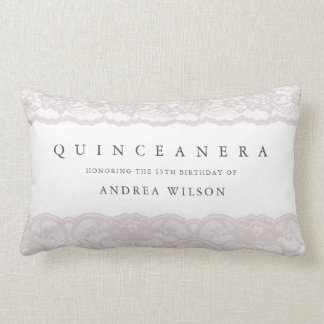Elegant Pink Lace Quinceanera Party Birthday GIft Lumbar Pillow