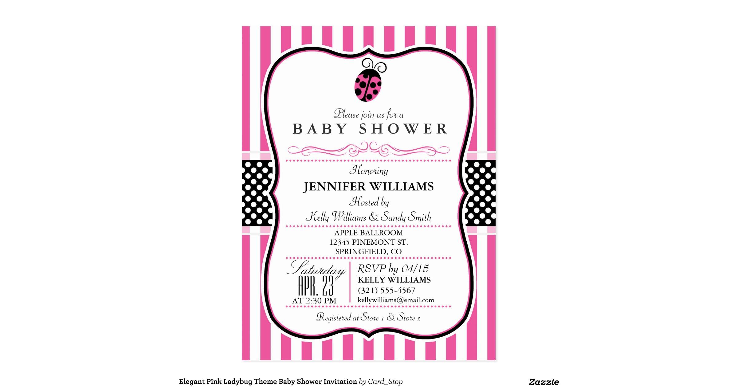 elegant pink ladybug theme baby shower invitation postcard