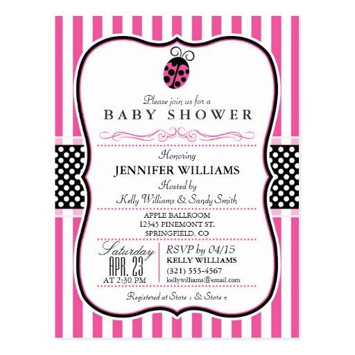 elegant pink ladybug theme baby shower invitation postcard zazzle