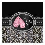 Elegant Pink Leopard Baby Shower Custom Invite