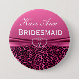 Elegant Pink Leopard Bridal Party Pinback Button