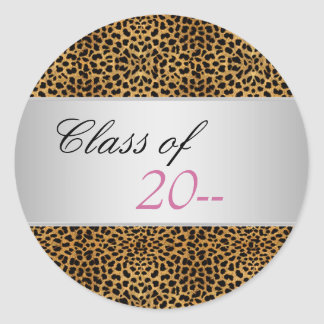 Elegant Pink Leopard Graduation Stickers