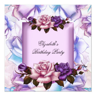 Elegant Pink Lilac Purple Flowers Birthday Party 2 Card