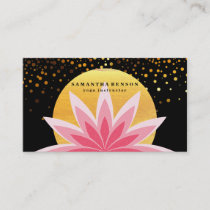 Elegant Pink Lotus Flower Logo Yoga Healing Health Business Card