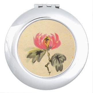 Elegant Pink Lotus Mirror Makeup Mirror