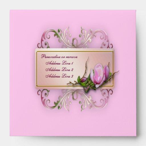 elegant pink magnolia baby shower envelopes zazzle