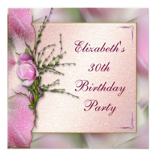 Elegant Pink Magnolia Birthday Party Personalized Announcements