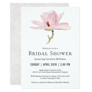 Elegant Pink Magnolia Blossom Bridal Shower Card