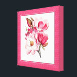 """Elegant Pink Magnolias Canvas<br><div class=""""desc"""">Beautiful canvas wall art,  with updated vintage art of pink magnolia blooms,  with a pink matted looking frame.  Lovely wall decor for any room of the house or office and makes an excellent gift idea.</div>"""
