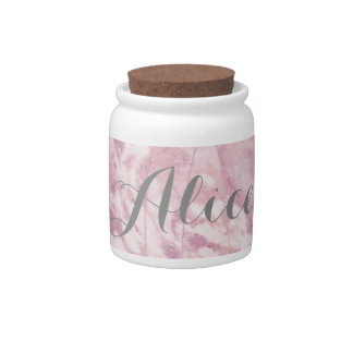 Elegant Pink Marble with Gray Name Candy Jar