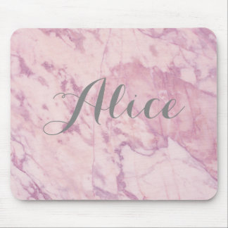 Elegant Pink Marble with Gray Name Mouse Pad