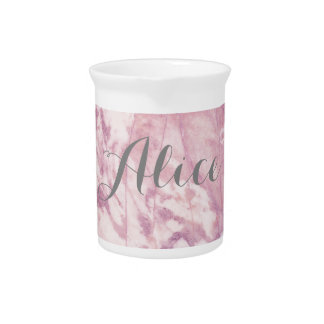 Elegant Pink Marble with Gray Name Pitcher