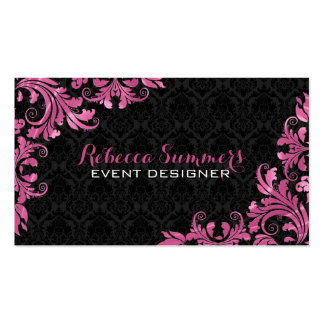 Elegant Pink Metall Lace Black Damasks Double-Sided Standard Business Cards (Pack Of 100)