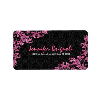 Elegant Pink Metall Lace Black Damasks Address Label