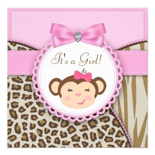 Elegant Pink Monkey Baby Girl Shower Custom Invitation (front side)