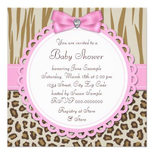 Elegant Pink Monkey Baby Girl Shower Custom Invitation (back side)