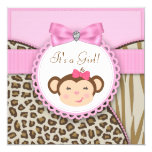 Elegant Pink Monkey Baby Girl Shower 5.25x5.25 Square Paper Invitation Card