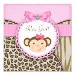 Elegant Pink Monkey Baby Girl Shower 5.25x5.25 Square Paper Invitation Card