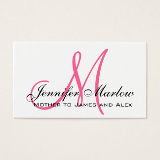 Elegant Pink Monogram Custom Mommy Calling Card