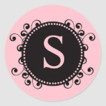 Elegant Pink Monogram S Wedding Sticker