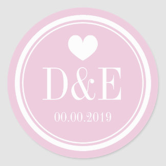Elegant pink monogrammed wedding favor stickers