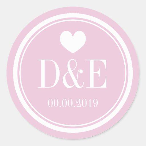 Elegant pink monogrammed wedding favor stickers thumbnail