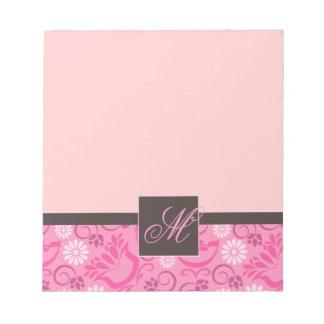 Elegant Pink Notepad with Monogram