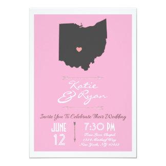Elegant Pink Ohio State Wedding Invitation