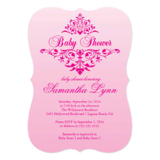 Elegant Pink Ombre Baby Shower Invitation