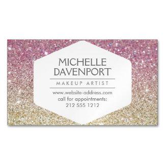 Elegant Pink Ombre Glitter Magnetic Business Card