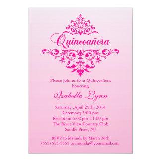 Elegant Pink Ombre Quinceañera Party Card